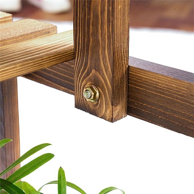 Moda simple 3 capas de madera maciza estante Jardín patio balcón sala de estar multicapa planta anticorrosión marco Flor estante de almacenamiento de la ...