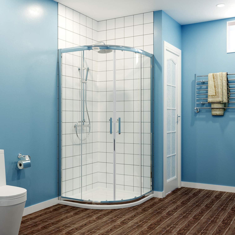 Quadrant Puerta corredera de cristal para ducha, 6 mm, 1000x1000 Shower Enclosure+Tray: Amazon.es: Hogar