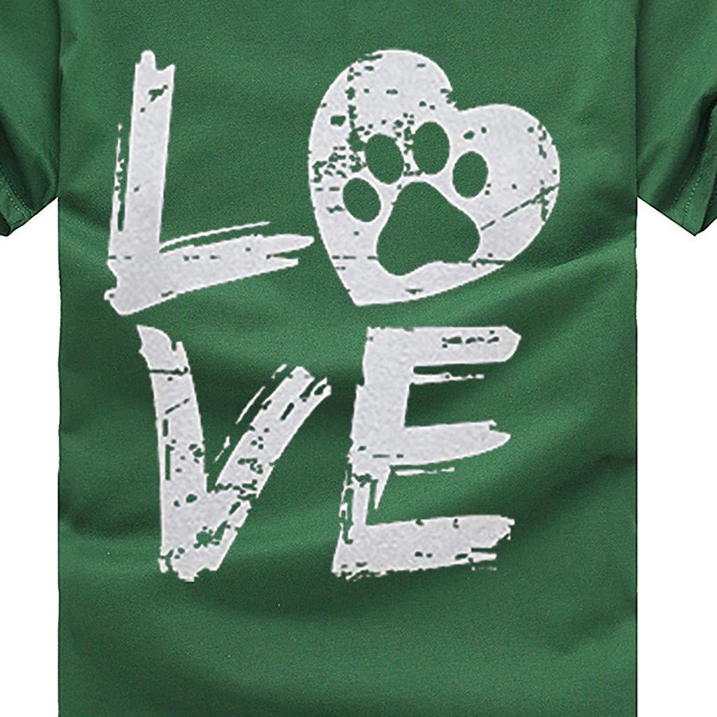 I Love My Dog Tshirt,Mlide Womens Love Print Tee Shirt Loose Short Sleeve T-Shirt Casual O-Neck Top