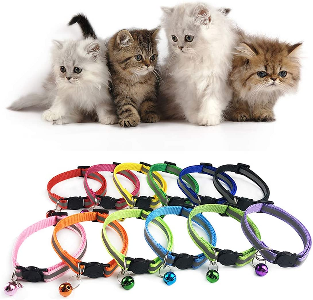 Reflective Cat Collars 12 PCS Cat Collar Quick Release Safety Buckle with Bell Adjustable Size 19-32 cm