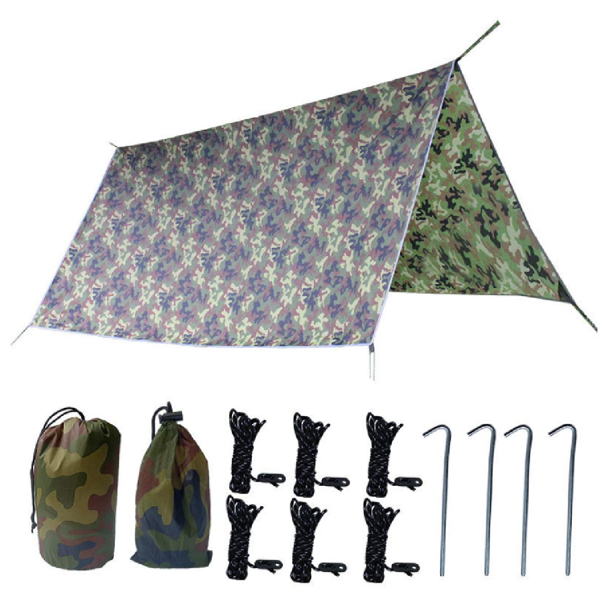 TRIWONDER Waterproof Hammock Rain Fly Tent Tarp Footprint Camping Shelter Ground Cloth Sunshade Mat for Outdoor Hiking Beach Picnic (Camouflage+Accessories, L - 118 x 118in) by TRIWONDER