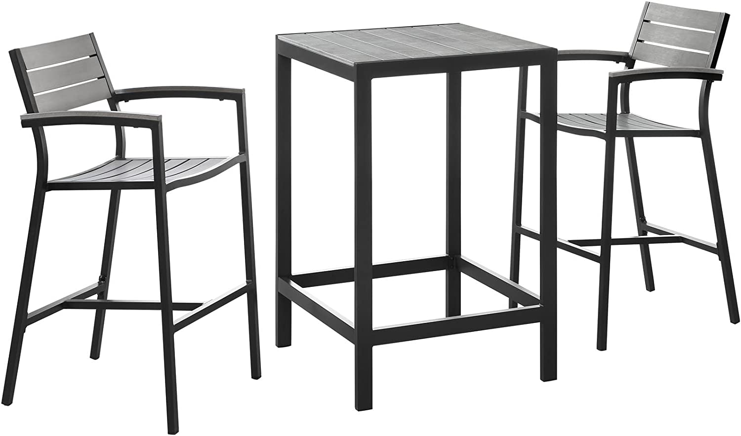 "Modway Maine Aluminum 3-Piece Outdoor Patio Dining Bistro Pub Set with 28"" Bar Table and Two Bar Stools in Brown Gray"