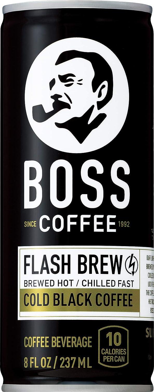 BOSS COFFEE by Suntory - Japanese Coffee Drink - Imported Coffee - Flash Brewed - Gluten Free, Sugar Free, Dairy Free, Keto, Vegan. (Original Black) (8 oz) (Pack of 12)