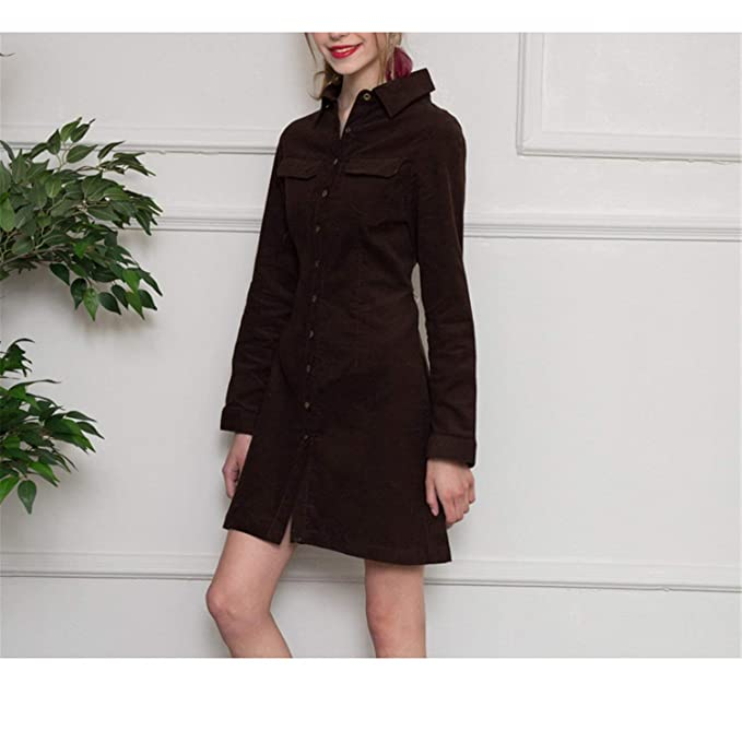 Rankei Spring Autumn Solid Corduroy Cotton Slim Women Long Shirt Dress Women Beautiful,Medium,Brown