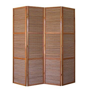 Homestyle4u 874 Xl Paravent Raumteiler 4 Teilig Bambus Holz Braun