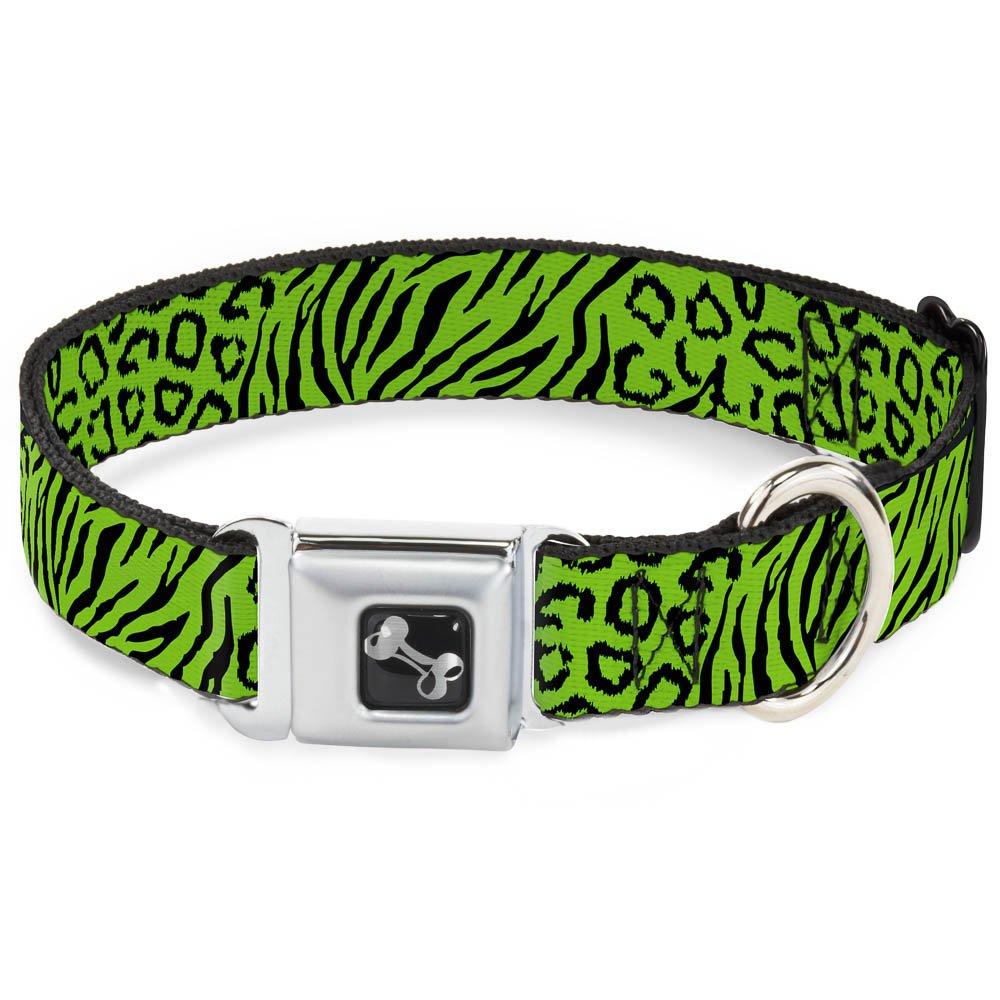 Buckle-Down Seatbelt Buckle Dog Collar Cheebra Green Black 1  Wide Fits 9-15  Neck Small