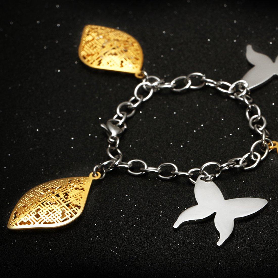 Hardart Butterfly Shell Hollowed Stainless Steel Charm Bracelet