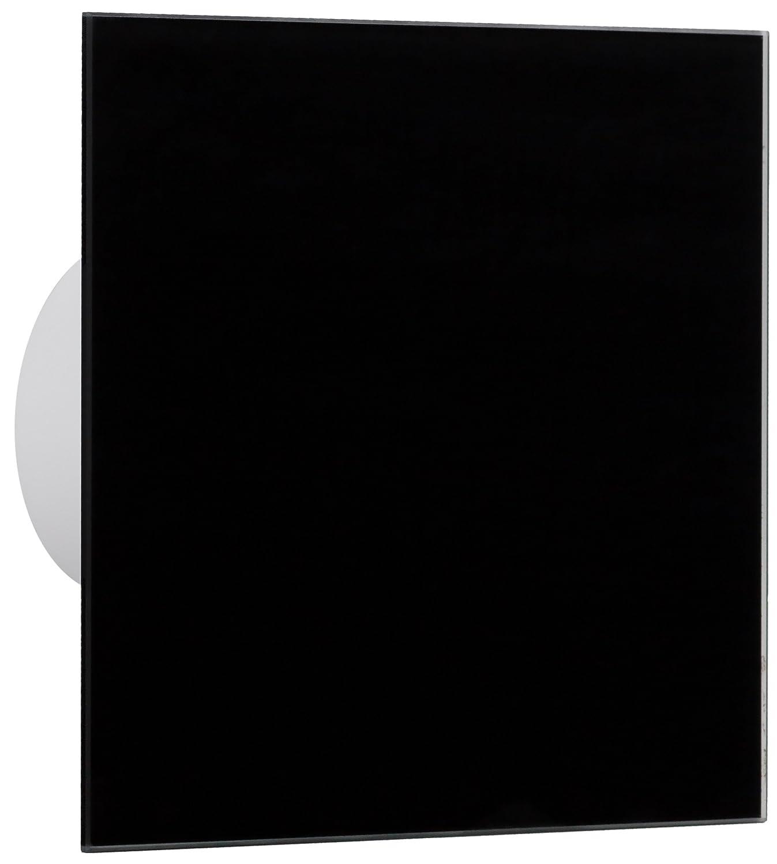 18564-004 Badventilator Wohnrauml/üfter Front Echtglas schwarz /Ø100-/Ø125 mm /Ø 100 mm Nachlauf Einschaltverz/ögerung MKK