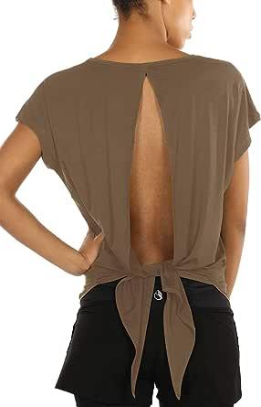 icyzone Camiseta Deportiva de Manga Corta de Espalda Abierta para Mujer: Amazon.es: Ropa y accesorios