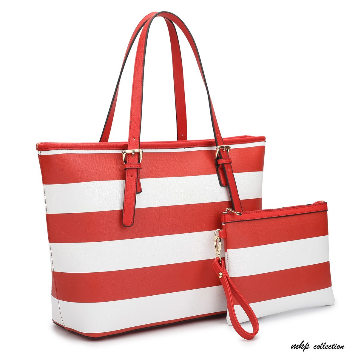 MKP Collection Large Classic Striped Tote with Free Matching Accessory Bag~Designer Handbag~Useful purse~Beautiful Satchel (7326) Red/White