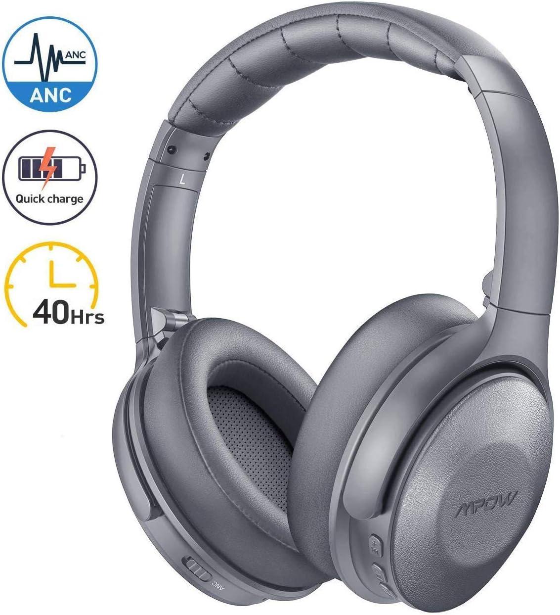 Mpow H17 Auriculares con Cancelación de Ruido, Cascos Bluetooth Diadema con Carga Rápida, 40 Hrs de Juego, Cascos Cancelación Ruido, Auriculares Diadema Bluetooth con Micrófono para TV/Móvil/PC-Gris