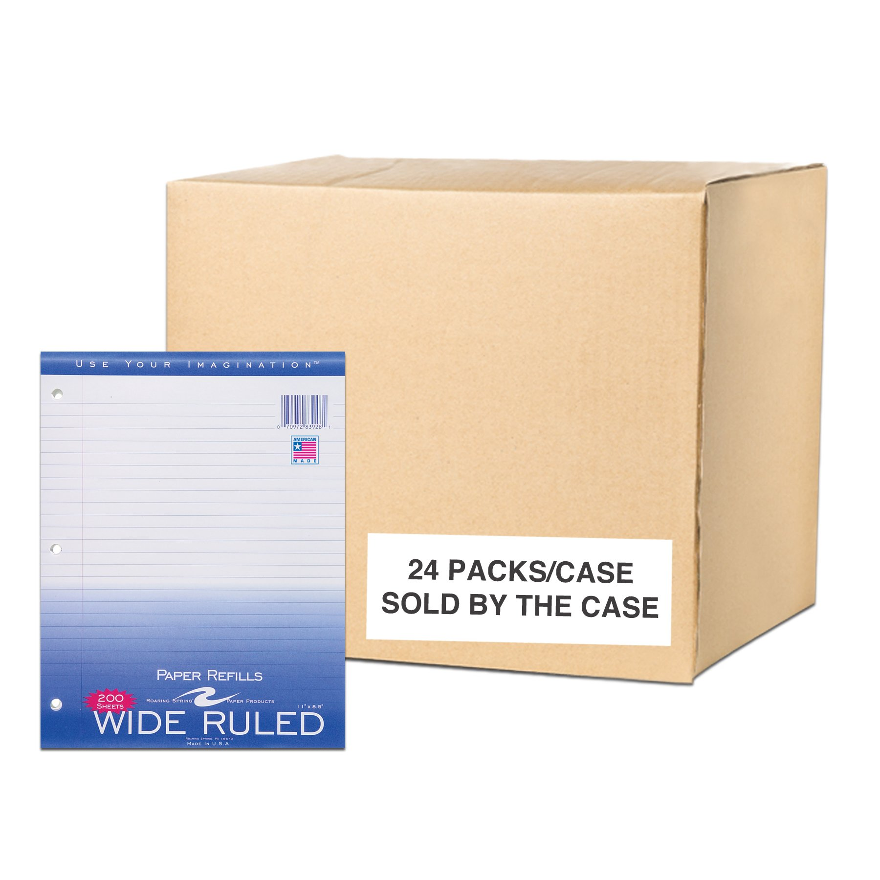 Case of 24 Packs of Looseleaf Filler Paper, 8.5''x11'', 200 Sheets of Smooth Medium Weight 15# White Paper, 3-Hole Punched, wide Ruled W/Margin