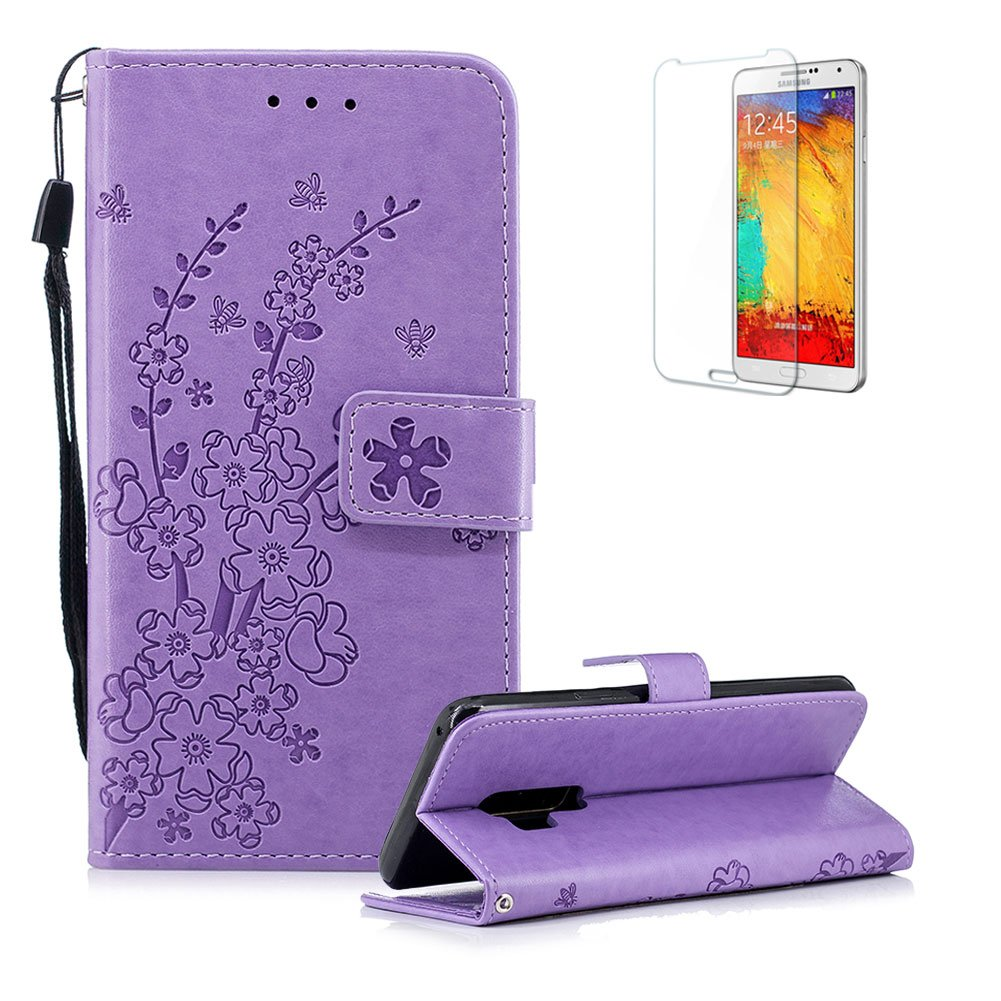 Funyye Strap Magnetic Flip Cover for Samsung Galaxy S9 Plus,Rose Gold Elegant Plum Blossom Print Pattern Folio Wallet Case with Stand Credit Card Soft PU Leather Case for Samsung Galaxy S9 Plus,Shockproof Non Slip Full Body Protective Case for Samsung Gala