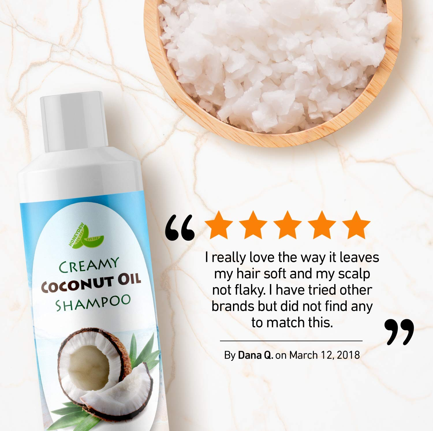 All Natural Coconut Oil Shampoo for Hair Growth - Hair Regrowth Treatment for Men and Women - Best Sulfate Free Moisturizing Shampoo - Safe for Color Treated Hair - Nourishing Hair and Scalp Treatment by Honeydew (Image #4)
