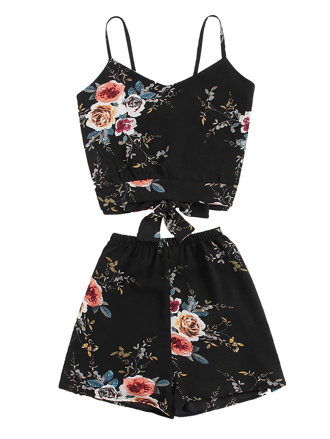 MakeMeChic Women's Summer Floral Boho Tie Cami Crop Top with Shorts