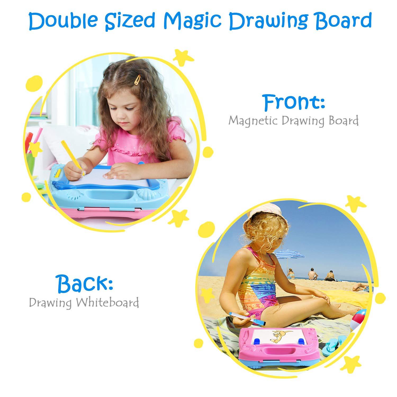 2 in 1 Doble Cara Magn/ética Infantiles Azul y Rosa Almohadilla de Escritura y Dibujo para Ni/ños LEADSTAR Tablero de Dibujo Magn/ético Colorido Borrable Garabatear Pizarra Blanca