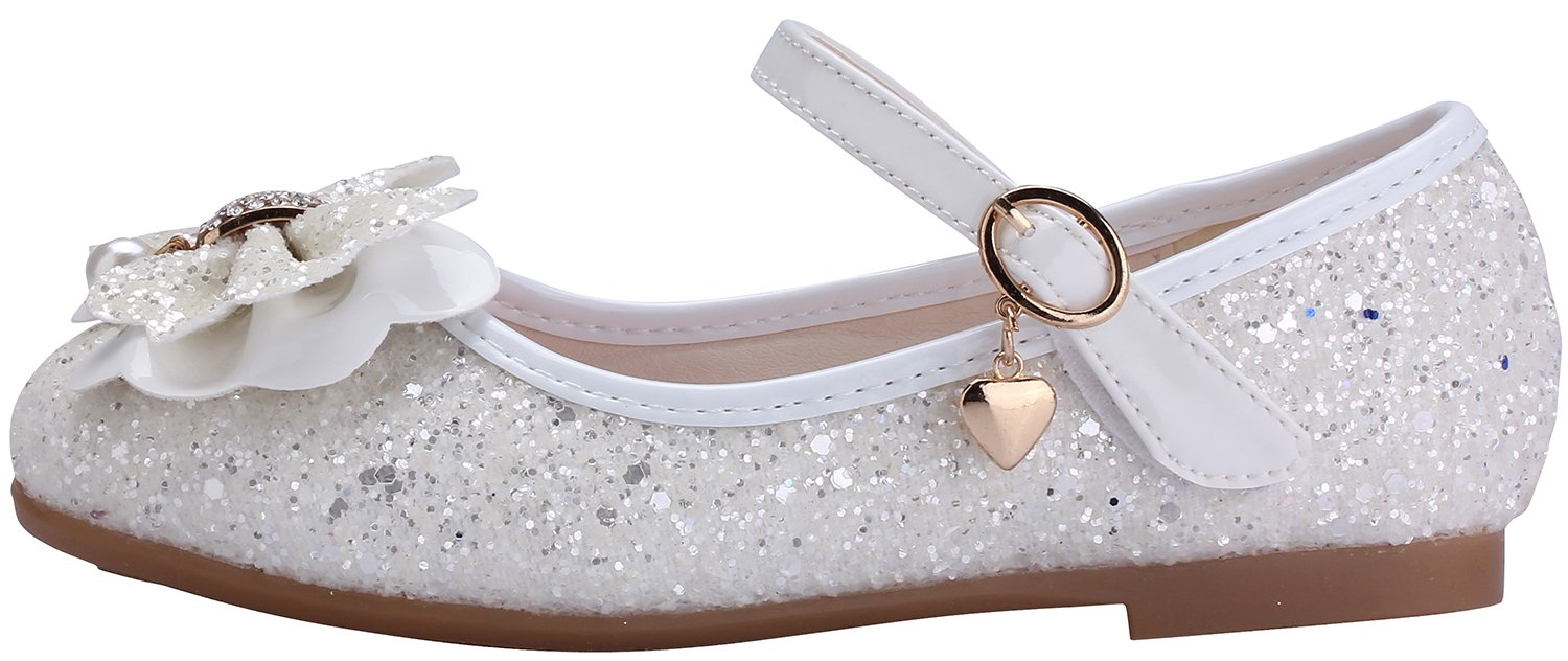 miaoshop Flower Girls Dress Ballet Flats Casual School Mary Jane Glitter Bow Shoes (10 M US Toddler, White) by miaoshop (Image #4)