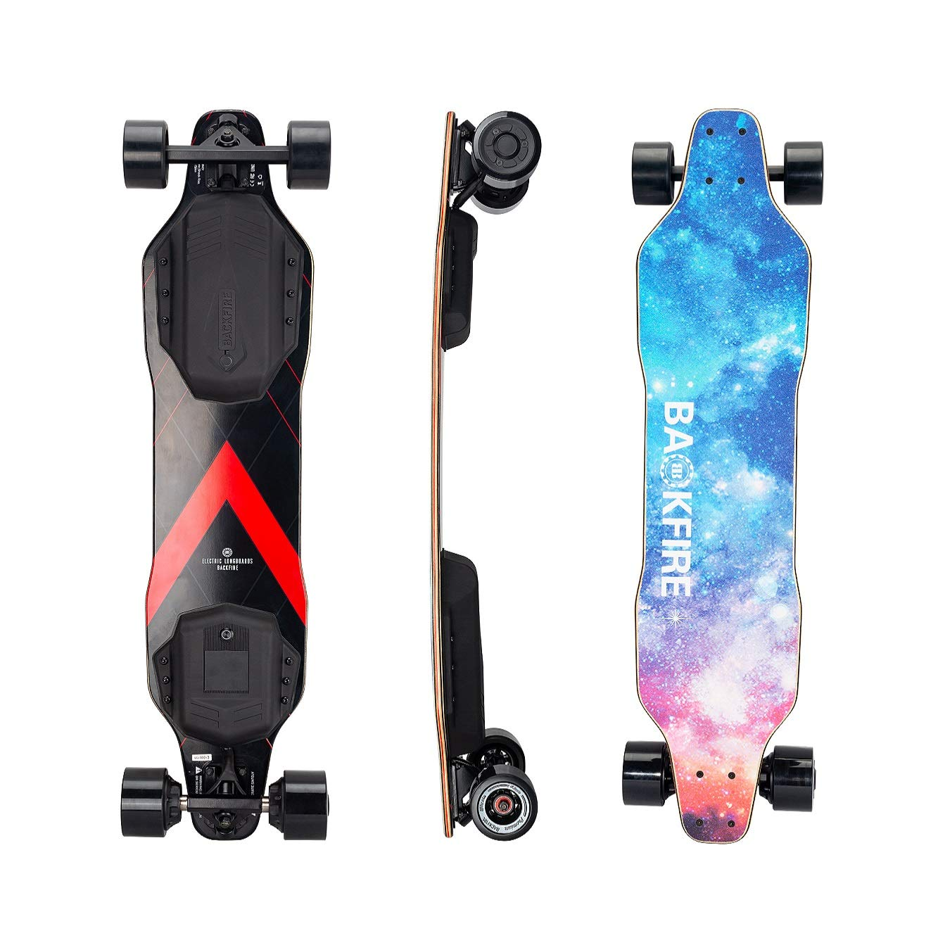 BACKFIRE New G2 2019 with G2T New Motors and ESC, 23 Mph Top Speed,10 Miles Range, 83MM Wheels (Galaxy Black Wheel)