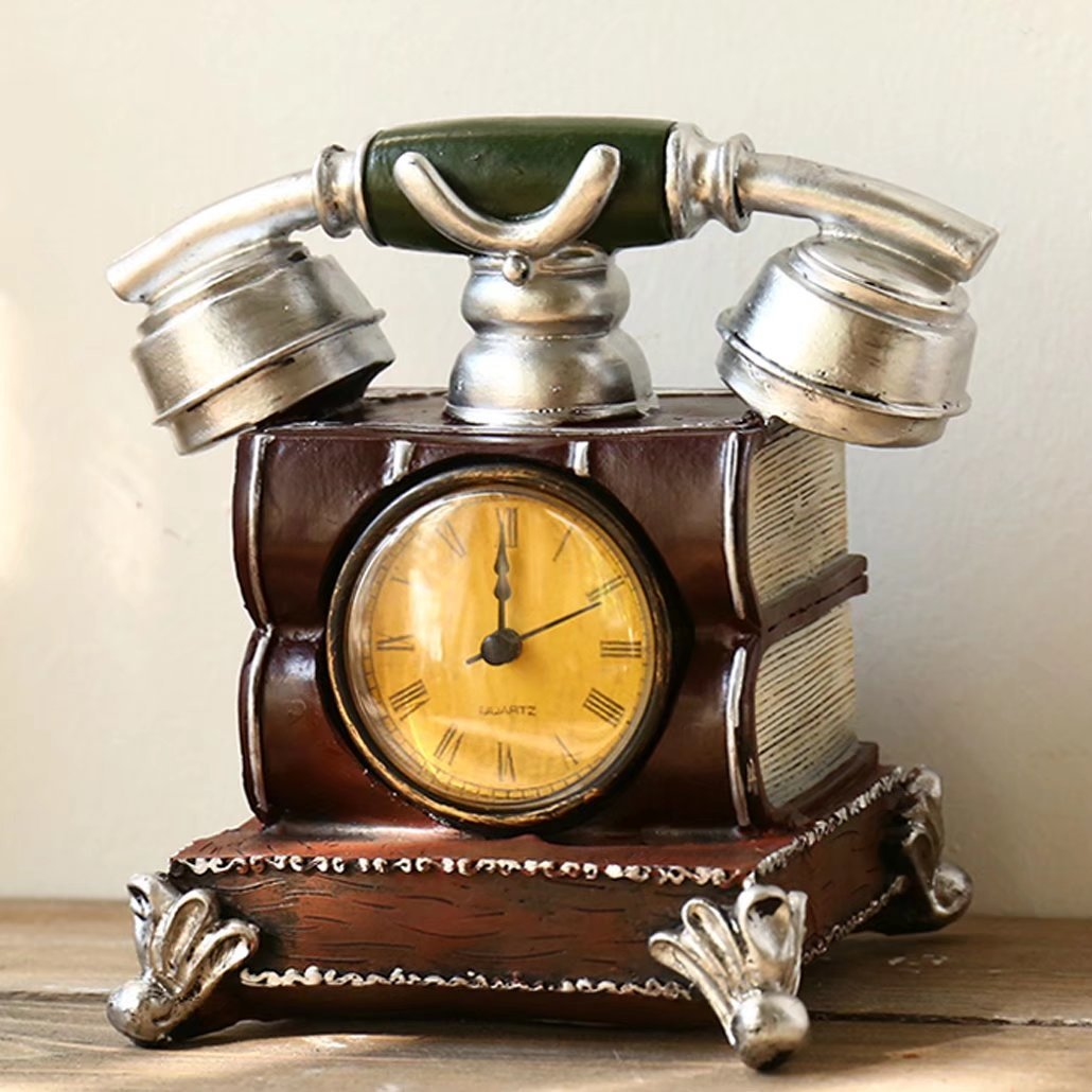 UNUSUAL 置き時計 クロック 電話模型 スタンド オブジェ インテリア 書斎 創意 貯金箱 兼用 部屋を飾り 時計 引越し祝い 誕生日プレゼント 可愛い 装飾品 新築祝い B074X6P7S7 D D