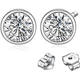 Solitaire Silber Ohrstecker 2 Simulierte Diamanten Gesamtgewicht ca. 1,88 ct Klar Weiß Kubik 925 Silber Ohrringe für Frauen
