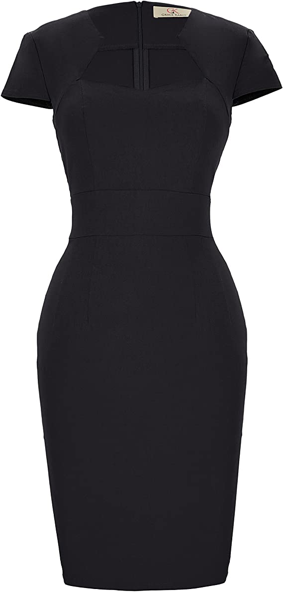 TALLA L. Belle Poque Retro Dress Cocktail Mujer Negro Grande (CL8947-1) … Negro(cl8947-1)
