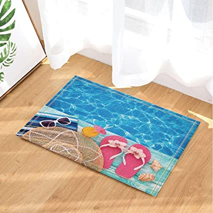 Tremendous Summer Holidays In Beach Decor Summer Flip Flops On Wooden Bath Rugs Non Slip Doormat Floor Entryways Outdoor Indoor Front Door Mat Kids Bath Mat Home Remodeling Inspirations Cosmcuboardxyz
