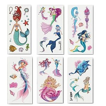 LINGREAL Papel de tatuaje de sirena, etiqueta engomada de tatuaje ...
