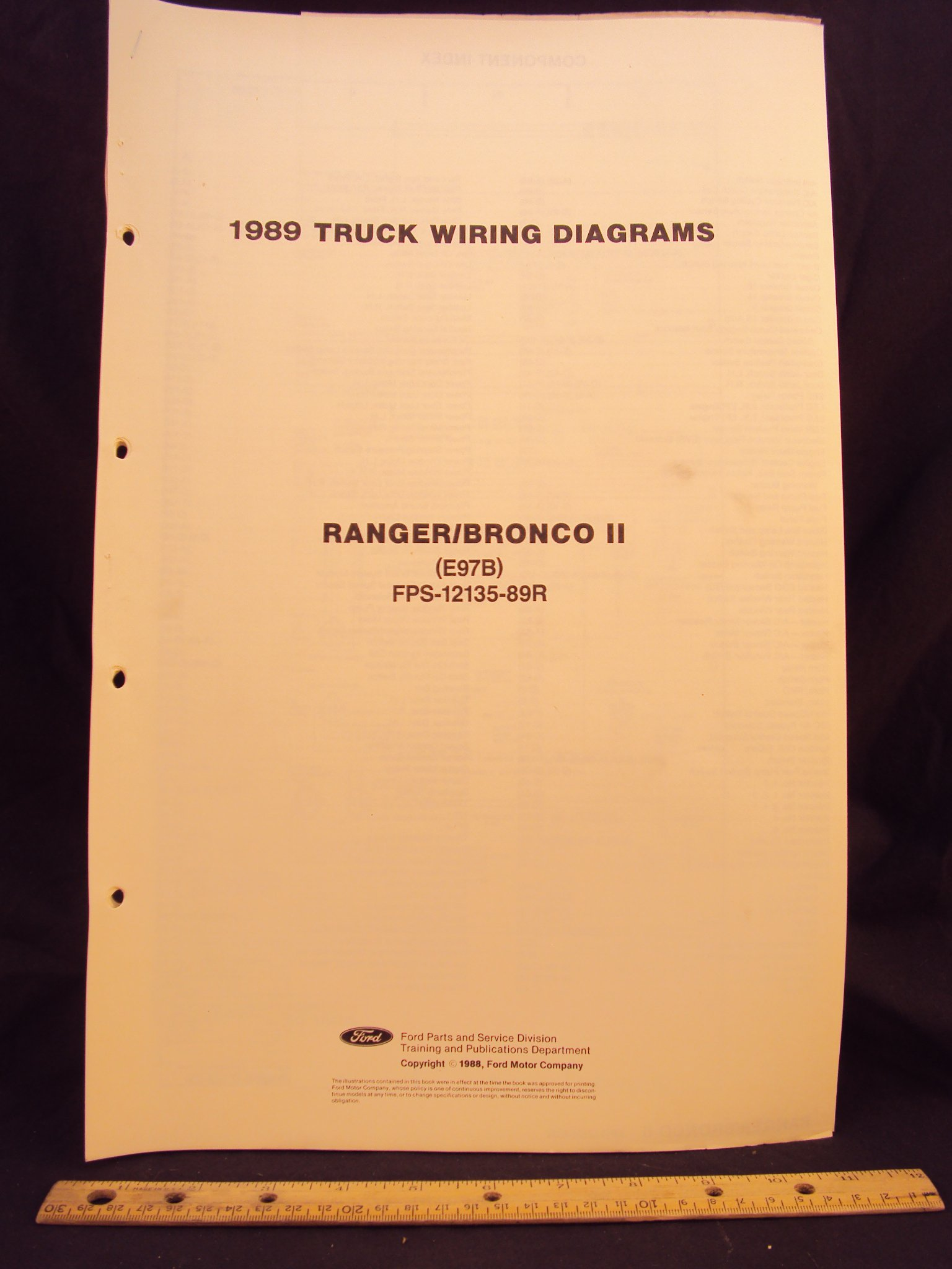 1989 FORD Ranger Truck & Bronco II Electrical Wiring Diagrams / Schematics:  Ford Motor Company: Amazon.com: Books
