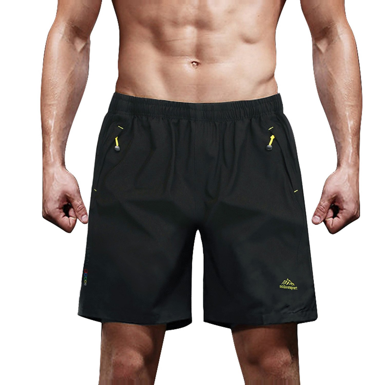 MAGCOMSEN Mens Quick Dry Shorts Active Shorts Zipper Shorts Lightweight Sportswear Running Shorts Beach Shorts for Men Black by MAGCOMSEN