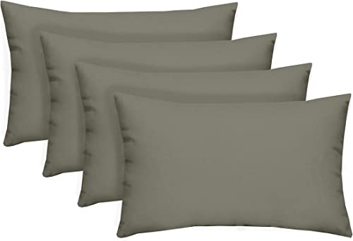 Resort Spa Home Decor Set of 4 Indoor Outdoor Decorative Lumbar Rectangle Pillows – Solid Dove Gray