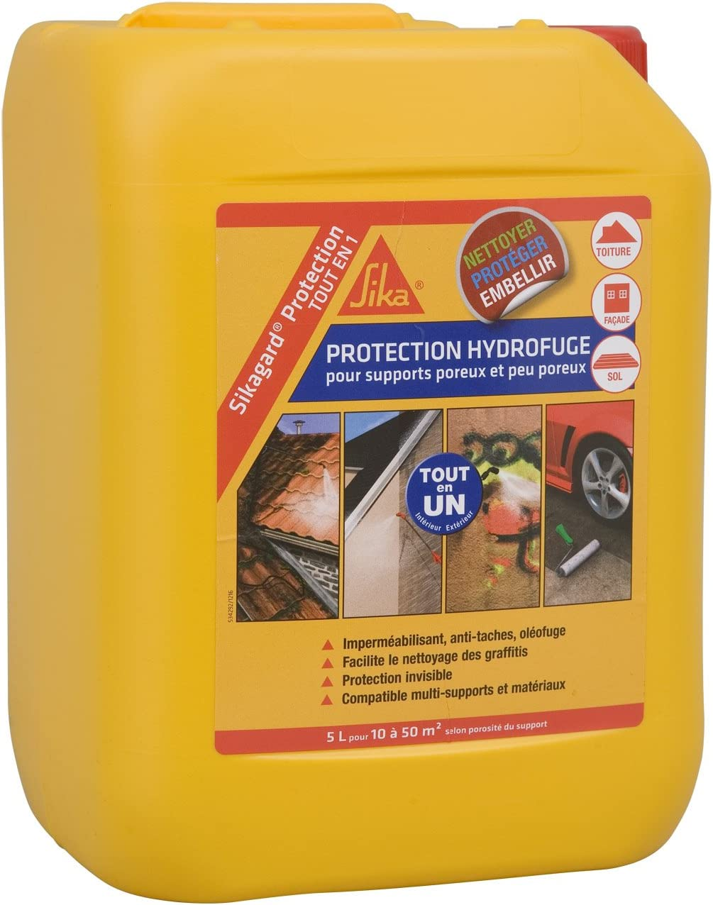 Sikagard Protection Tout En 1 Protection Hydrofuge Facade Mur Toiture Et Sol Anti Graffitis 20l Incolore Amazon Fr Bricolage