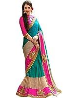 Shiroya Brothers Women Peper Silk Saree (New Sarees_Half Half_Multi Color_Pink Sari)