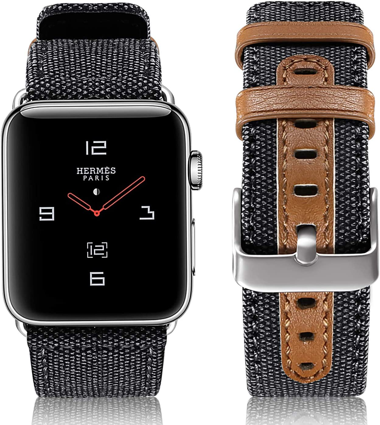 SKYLET Compatible with Apple Watch Band 42mm 38mm Series 5 44mm 40mm Leather Band, Canvas Fabric Leather Wristbands Compatible with Apple Watch Series 4 3 2 1 Men Women Black