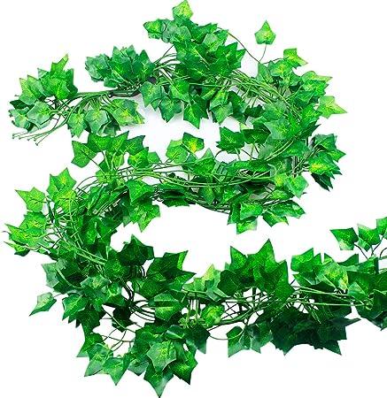 Natuce Hiedra Artificial 12 Piezas 24M Plantas Artificiales Decoracion Hiedra Guirnalda Colgantes de Plastico y Tela para Boda Fiesta Jardín Exterior Decoración de la Pared Verde: Amazon.es: Hogar