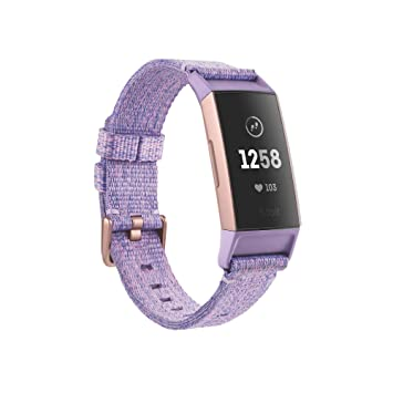Fitbit Charge 3 special edition fitness activity tracker, lavender woven,  one size (s & l bands included)