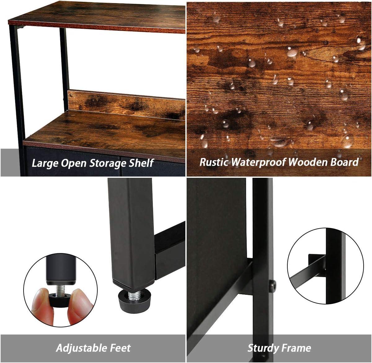 Wood Top Living Room Hallway Sturdy Steel Frame Dresser Organizer Furniture Tower for Bedroom Floor Cabinet with 2-Tier Shelves Kamiler Storage Cabinet with 3 Drawers