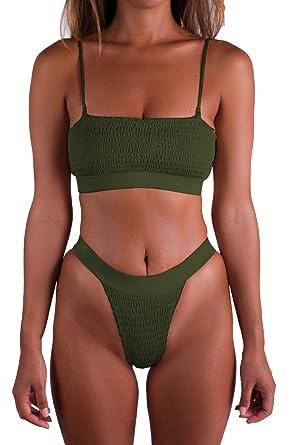 10262bb1c44 Pink Queen Women's Padded Ruffle High Cut Thong Swimsuit Bikini Set Army  Green S