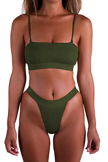 163bb7fdee Pink Queen Women s Padded Ruffle High Cut Thong Swimsuit Bikini Set Army  Green S