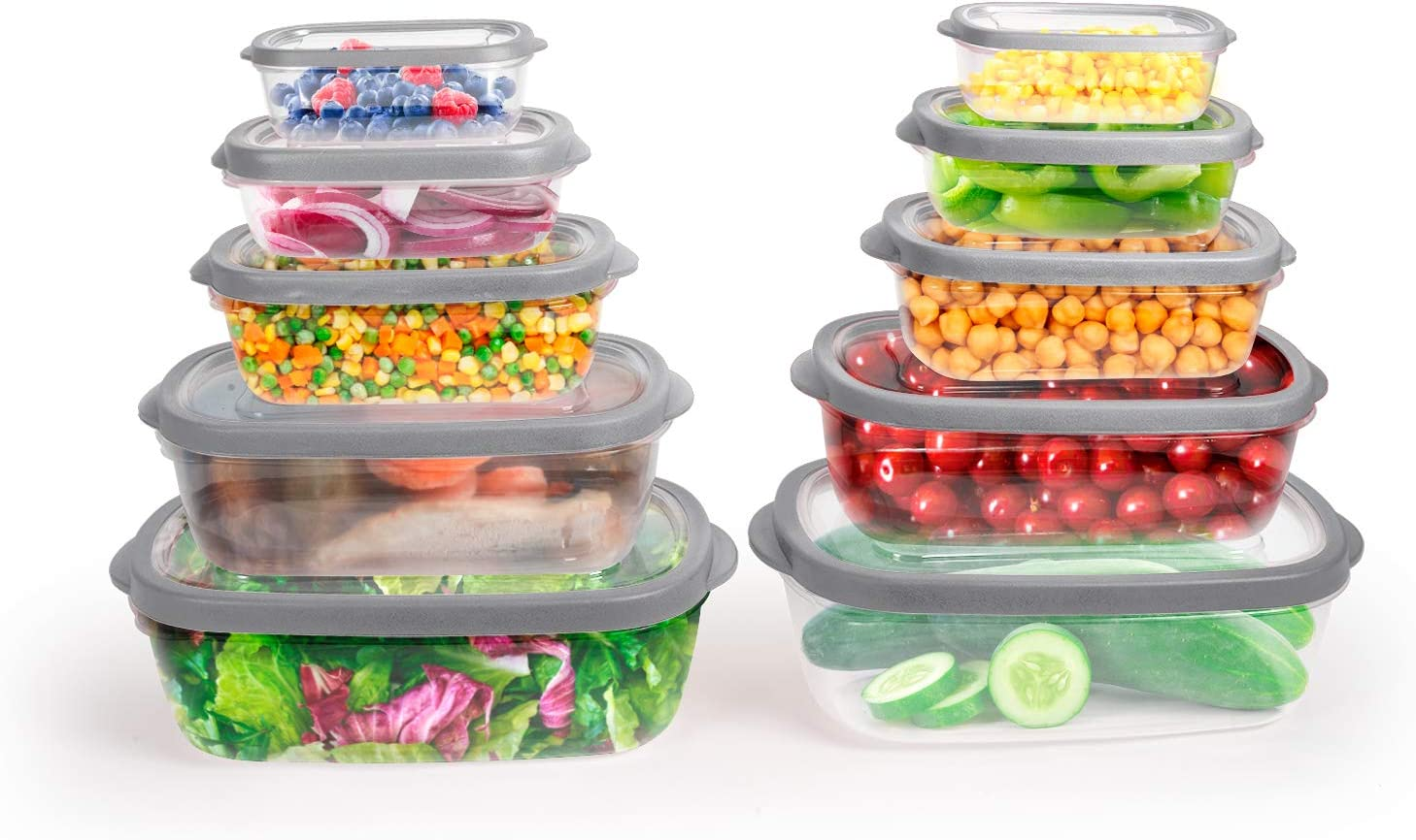 Totally Kitchen Rectangle Food Containers | Microwave Safe & BPA Free | Thick, Durable & Leak Resistant | Grey, Set of 10 (20 Pieces Total)