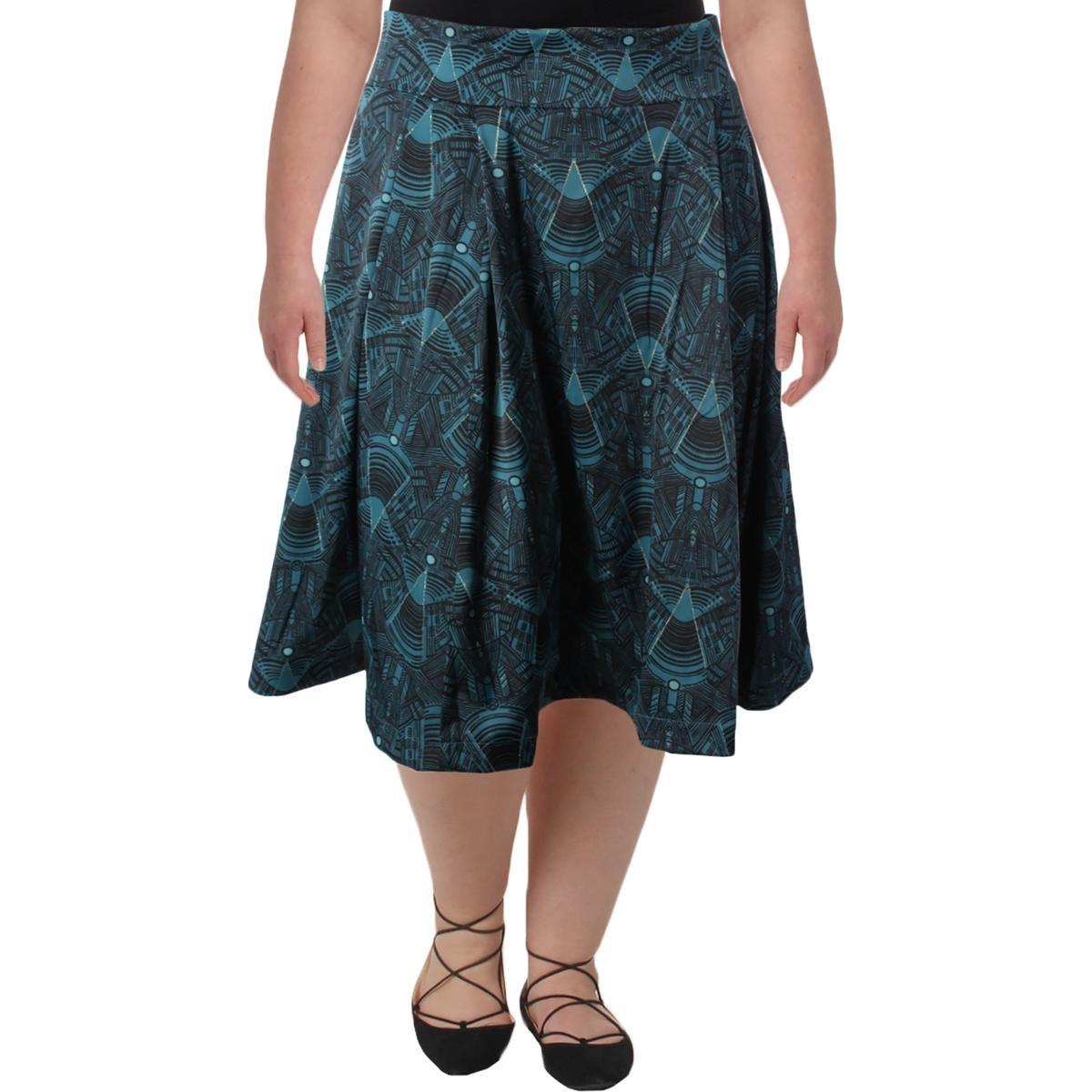 Melissa McCarthy Seven7 Womens Plus Printed Metallic A-Line Skirt Green 3X by Melissa McCarthy Seven7