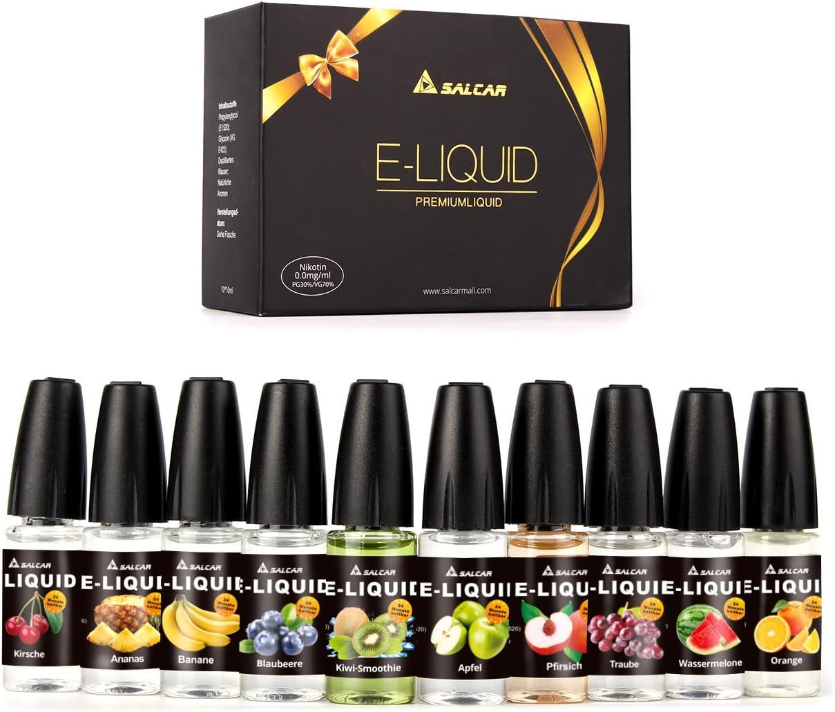 Salcar® 10x10ml Set E-Líquido para cigarrillos electrónicos, e-shisha (manzana, piña, plátano, arándano, naranja, melocotón, uva, sandía, cereza, kiwi-smoothie): Amazon.es: Salud y cuidado personal