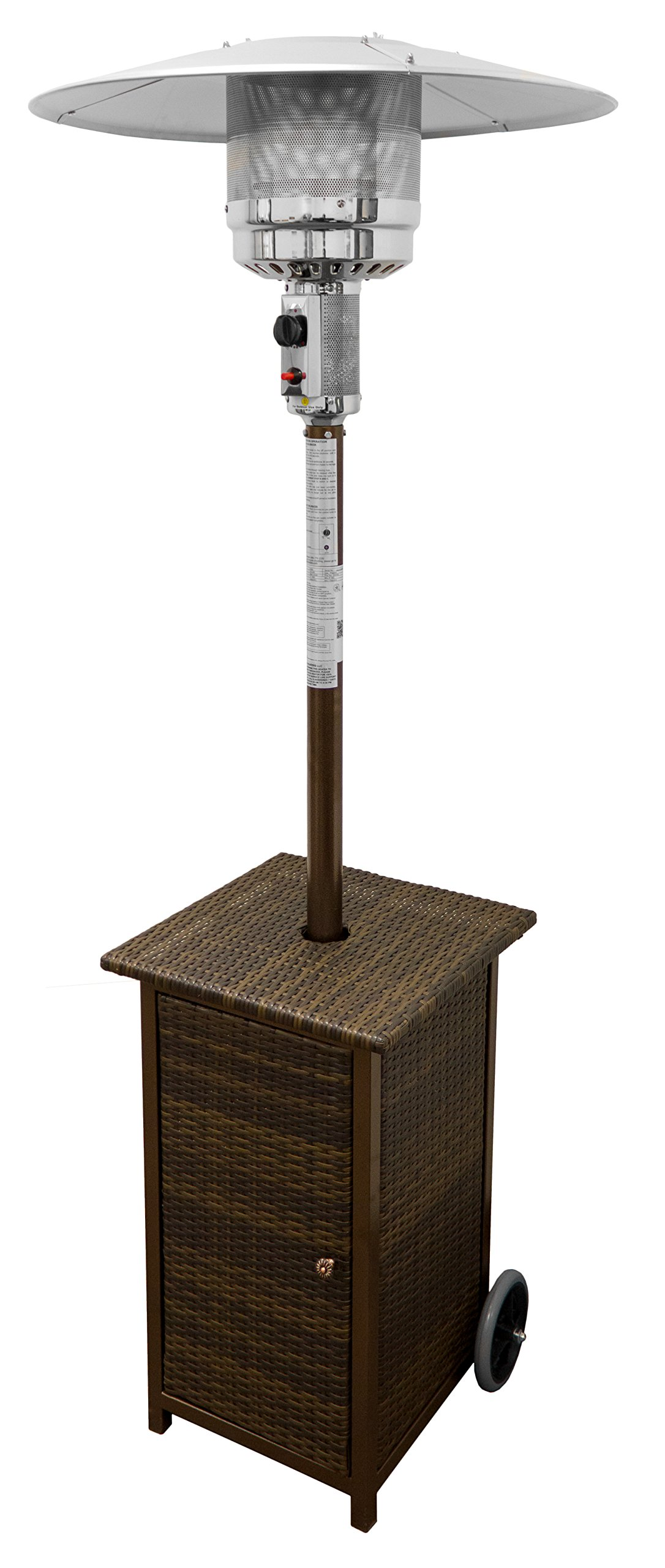 Hiland HLDS01-WHSQ Tall Square Wicker Propane Patio Heater with Wheels, 48,000 BTU, 33'' Heat Shield, Wicker by Hiland
