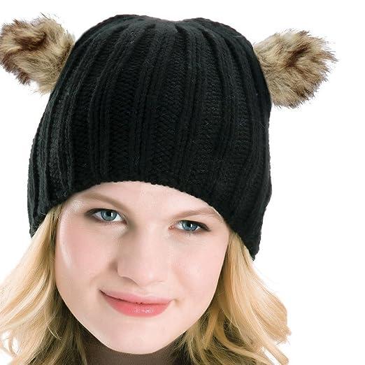 6c7687a336b Women Rib Knitted Beanie Hat With Faux Fur Animal Bear Ears Cream Grey  Black Hat(