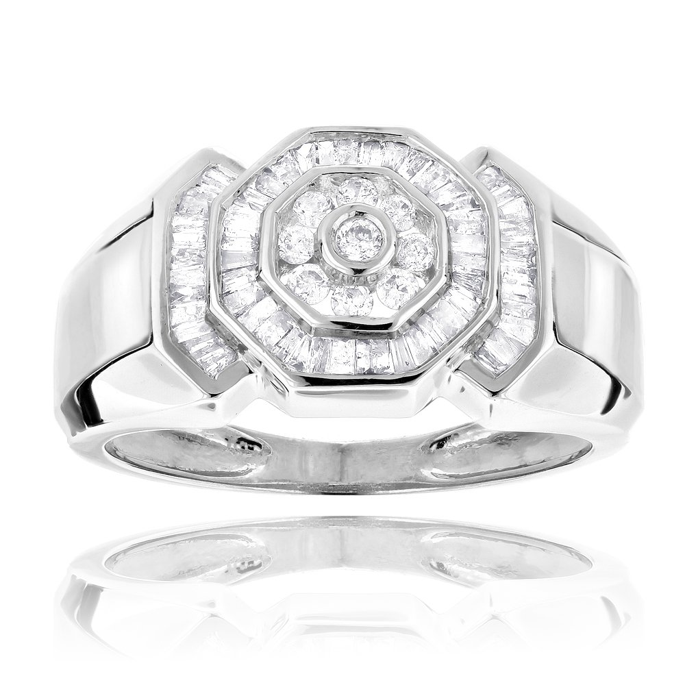 Luxurman Mens 14K Round and Baguette Cut Natural 0.6 Ctw Diamonds Ring For Him (White Gold Size 10)