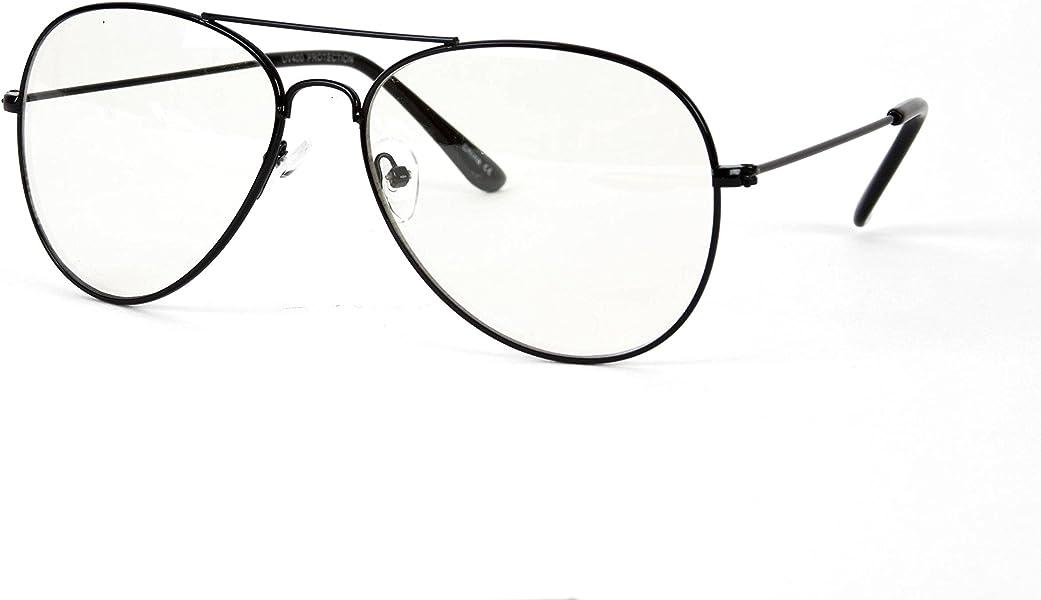 b2635b49f09 Amazon.com  Gravity s Non-Prescription Premium Aviator Clear Lens Glasses -  Black  Shoes