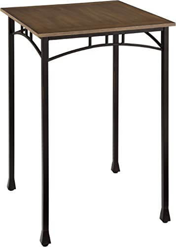 Home Styles Modern Craftsman Oak Pub Bistro Table with Distressed Finish, Engineered Wood, Oak Veneers, and Metal Legs