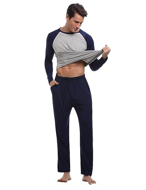Aibrou Pijamas Hombre 100% Algodón,Suave,Cómodo y Agradable