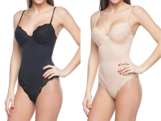 2506f7d7c04 Body Beautiful Women s Silky Bodysuit Shaper with Built-in Cups and Lace  Details (2