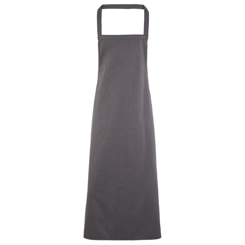 Premier Ladies/Womens Stripe Apron/Workwear (Butchers Style) (One Size) (Black/Grey Fine Stripe)