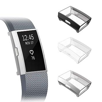 Fintie Protector de Pantalla [3 Piezas] Compatible con Fitbit Charge 2 - Funda de TPU Blanda Cubierta Protectora A Prueba de Choques, ...